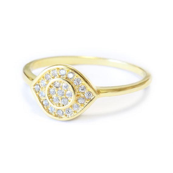 Wedding - Evil Eye Diamond Ring - 14K Gold, Evil Eye Jewelry, Push Present, Anniversary Gift