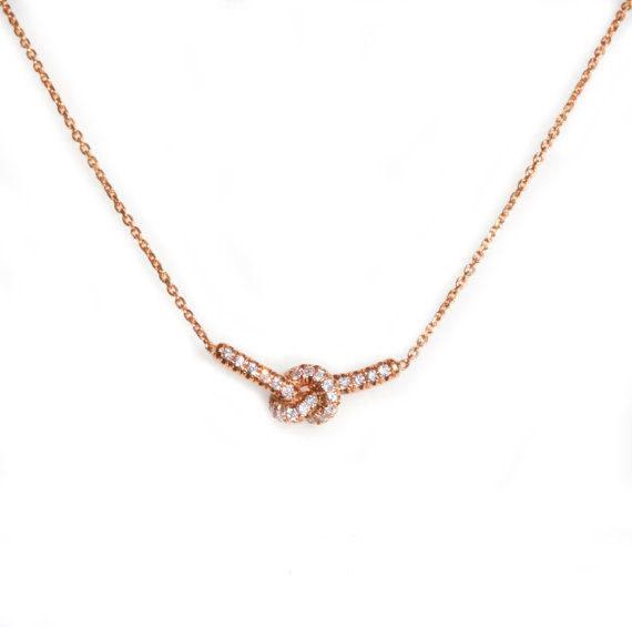 Boda - Love Knot Necklace, 14K Rose Gold Necklace, Love Knot Pendant, Diamond Necklace, Anniversary Gift, Love Knot Jewelry