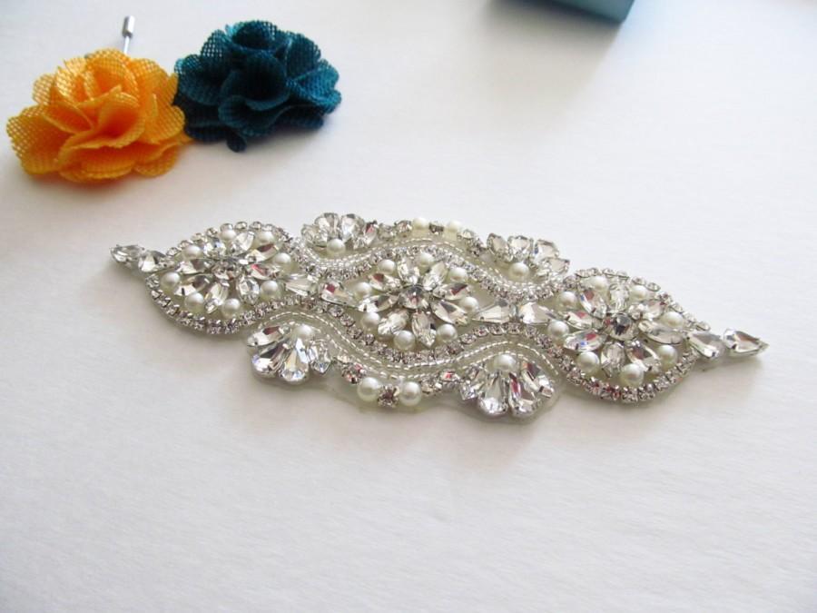 Mariage - Rhinestone and Pearl Applique / Bridal Applique /  Beaded Applique / DIY sash (SQA-15)