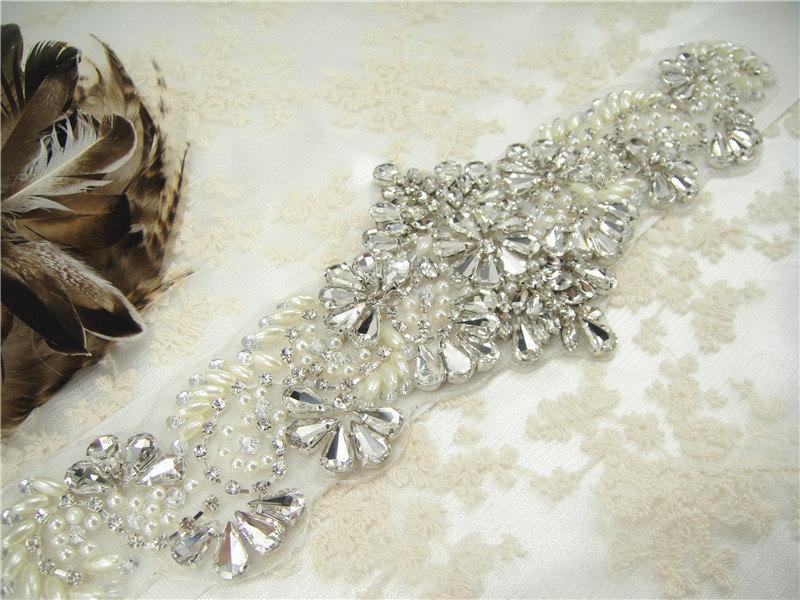Hochzeit - Sale-Rhinestone applique, Diamante Applique, crystal applique for Bridal Sash, Bridal Applique, wedding applique, Gatsby Style, Wedding belt