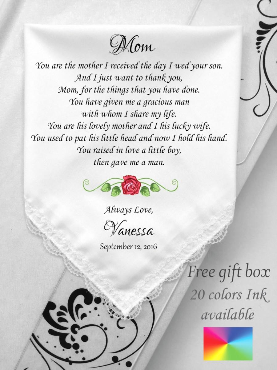 Wedding Gift From Groom To Mother In Law : Mother In law Wedding Gift-Wedding Handkerchief -To Mother Groom From ...