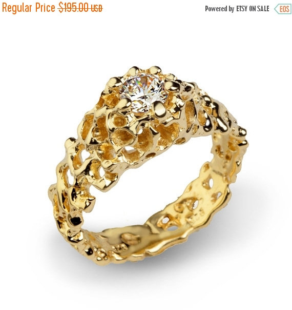 Mariage - SALE 20% OFF - CORAL Solitaire Engagement Ring, Gold Statement Ring, Cz Engagement Ring, Gold Promise Ring, Gold Cz Ring