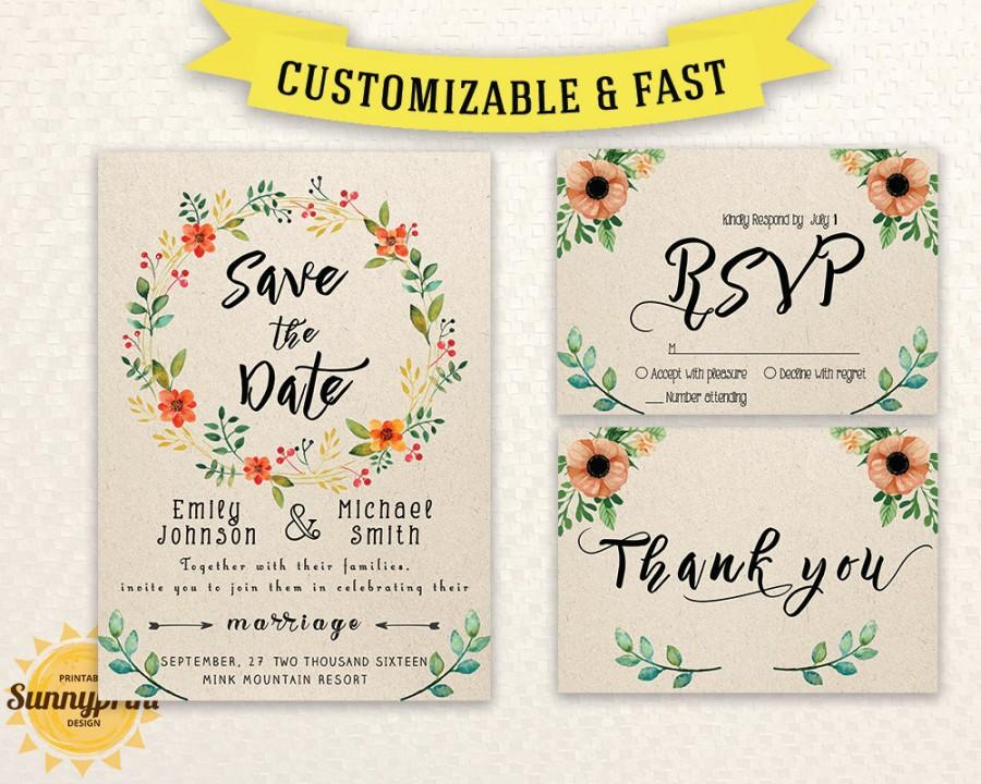 Mariage - Wedding invitation template download - Printable wedding invitation set - Wedding invite template - Save the date template download diy