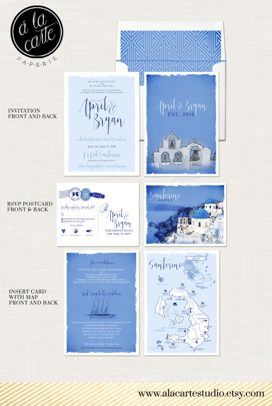 Mariage - Destination wedding invitation set Santorini Greece Greek Island Invitation Suite European wedding - Deposit Payment