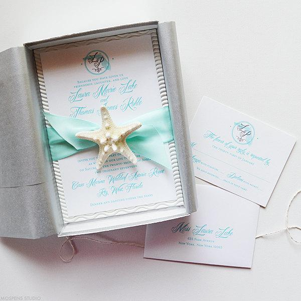 Beach Wedding Invitation Beach Wedding Invitations In A Box Sample