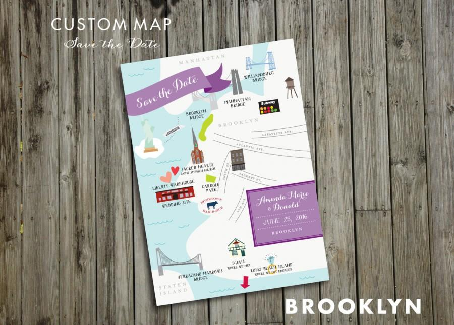 Mariage - Custom Save the Date Wedding Map - JPress Designs, Brooklyn, Key West, modern wedding, letterpress, destination wedding, map, custom