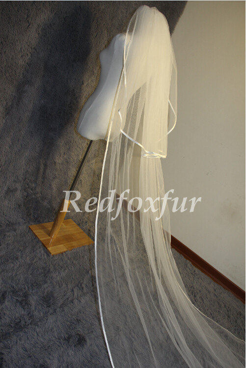 Свадьба - 2T cathedral veil, Ivory white cathedral veil, 3m wedding veil, ribbon edge veil comb veil, wedding accessories, bridal veil church