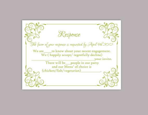 Свадьба - DIY Wedding RSVP Template Editable Text Word File Download Printable Green Rsvp Card Template Elegant Enclosure Card