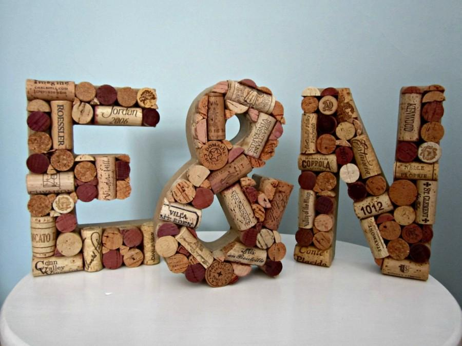 wine cork letters with ampersand sign