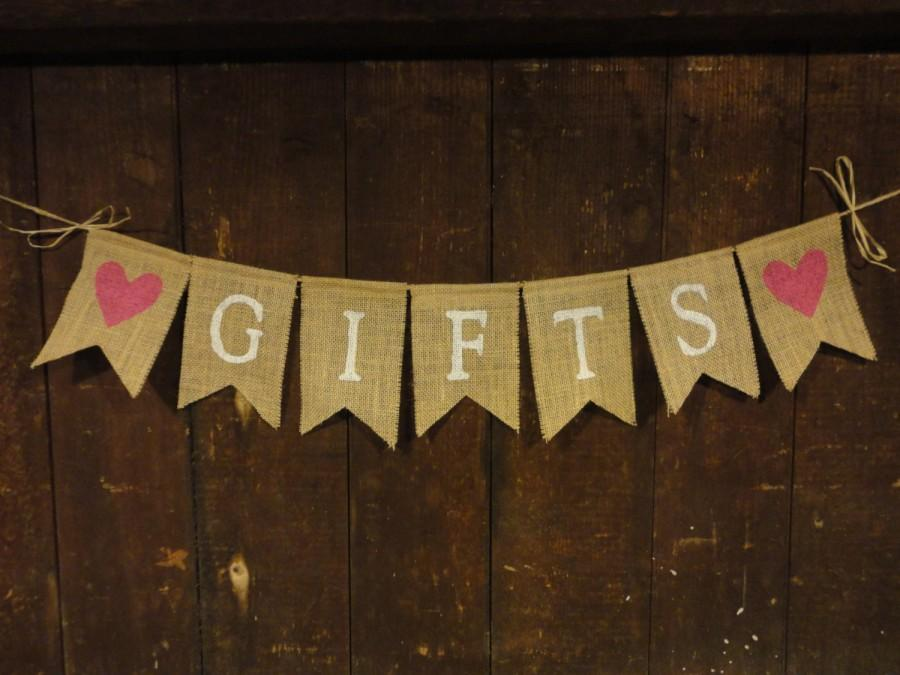 Mariage - Gifts Burlap banner, Gifts Sign, Wedding Decor, Bridal Shower Decor, Baby Shower Decor, Gifts Garland, Gifts Table, Rustic Country, Custom