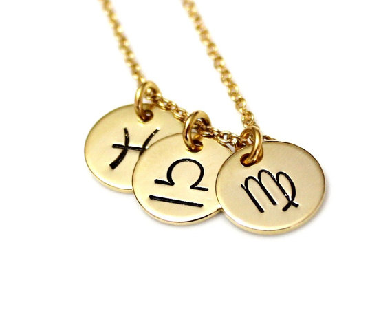 Mariage - Zodiac Constellation Necklace, BFF Jewelry, Astrology Horoscope, Gold Zodiac Necklace, Zodiac Symbol Charms, Silver Charm
