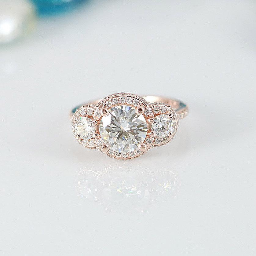 زفاف - Francesca Charles and Colvard Forever ONE Moissanite 3 Stone Triple Halo Diamond Accent Ring