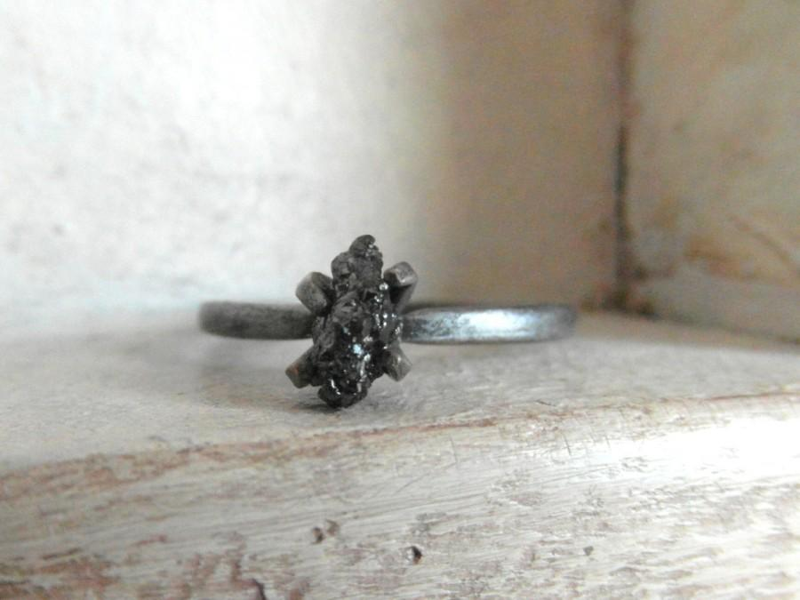 Mariage - oxidazed sterlimg silver- uncut natural black diamond ring size 7- one of a kind engagement-promise ring