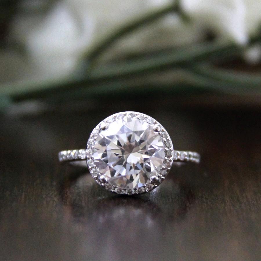 Wedding - 3.60 ct Halo Engagement Ring-Brilliant Cut Diamond Simulants-CZ Ring-Bridal Ring-Wedding Ring-Promise Ring-925 Sterling Silver-R02718