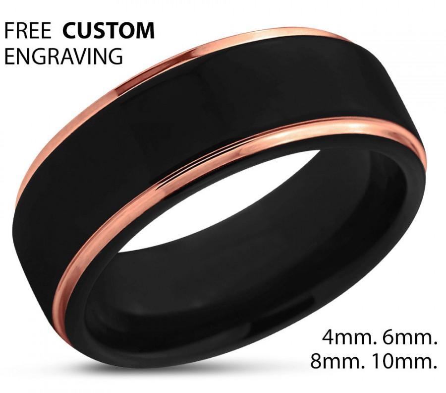 Mariage - Black Tungsten Ring Rose Gold Wedding Band Ring Tungsten Carbide 8mm 18K Tungsten Ring Man Wedding Band Male Women Anniversary Matching