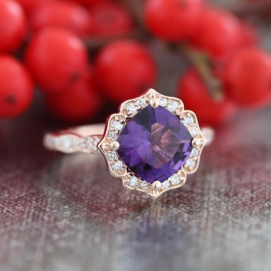 Mariage - Rose Gold Amethyst Engagement Ring in Scalloped Diamond Wedding Band 14k Gold Vintage Floral Purple Gemstone Ring 8x8mm Cushion Cut