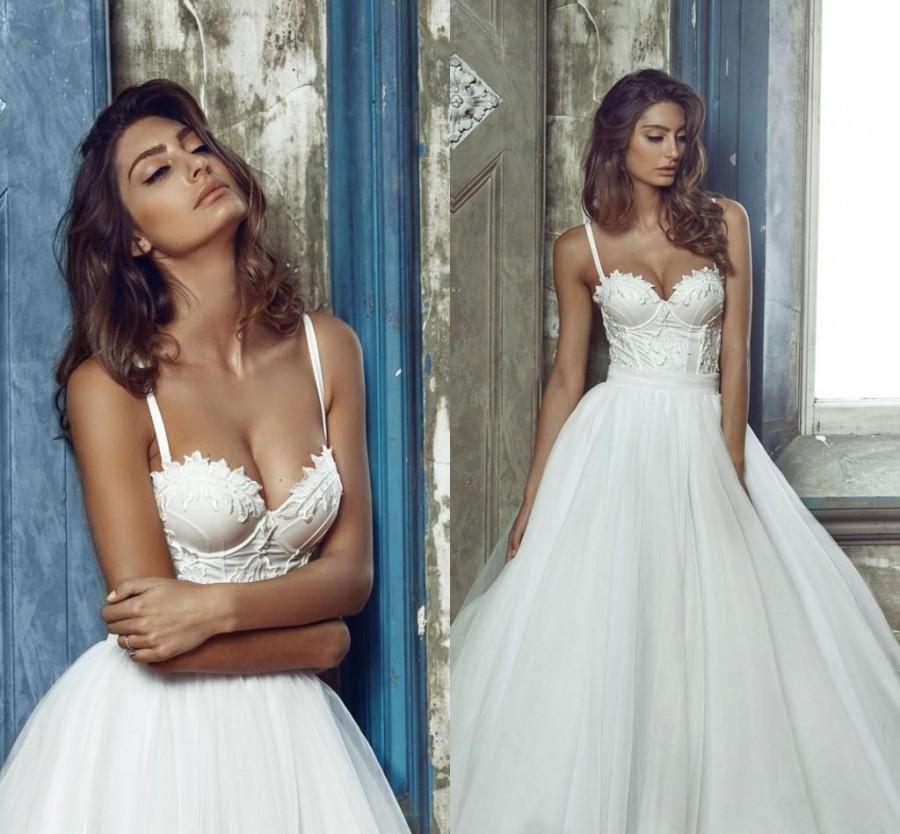 Свадьба - Graceful 2016 Collection Wedding Dresses White Spaghetti Straps Tulle A-Line Lace Bridal Gowns Wedding Ball Cheap Sweep Train Online with $105.16/Piece on Hjklp88's Store