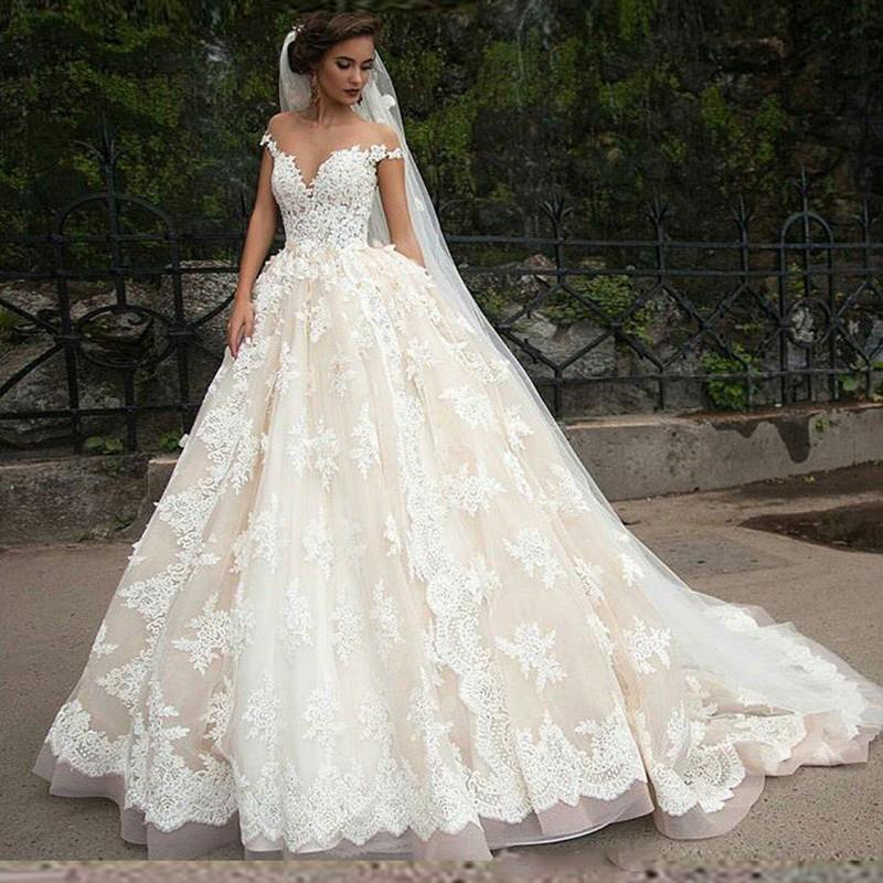 Princess Full Lace Wedding Dresses 2016 Sheer Arbic Tulle A-Line ...
