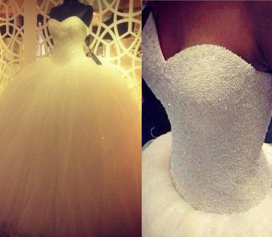زفاف - Custom 2016 Sweetheart Ball Gown Wedding Dresses Luxury Pearls Tulle Bridal Gowns Wedding Dress Online with $176.29/Piece on Hjklp88's Store
