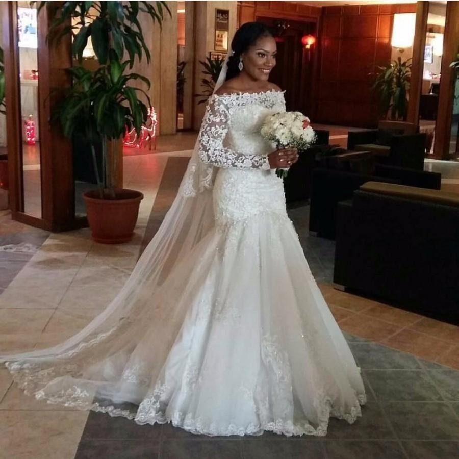 2016 New Sexy Illusion Long Sleeve Mermaid Wedding Dresses ...