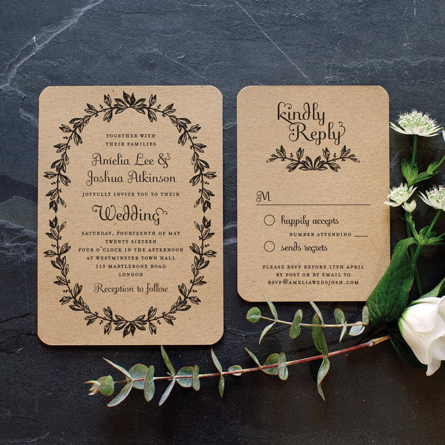 Rustic Recycled Wedding Invitation Vintage Wreath