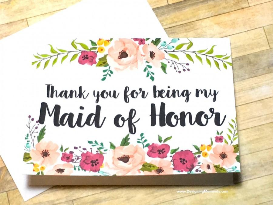 Maid Of Honor Thank You Card Thank You For Being My Maid Of Honor