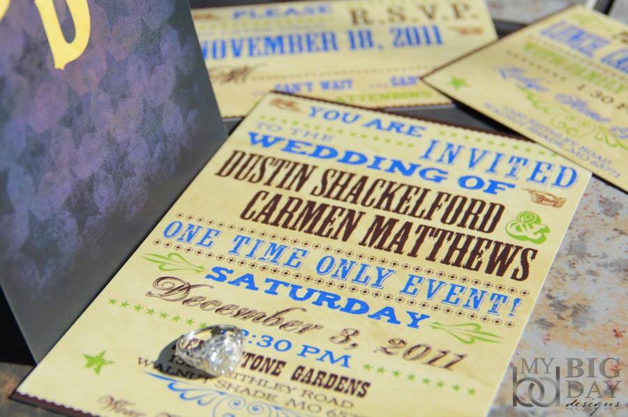 Hatch Show Wedding Invitation Set Texas Stars Invitations Wanted Poster Style