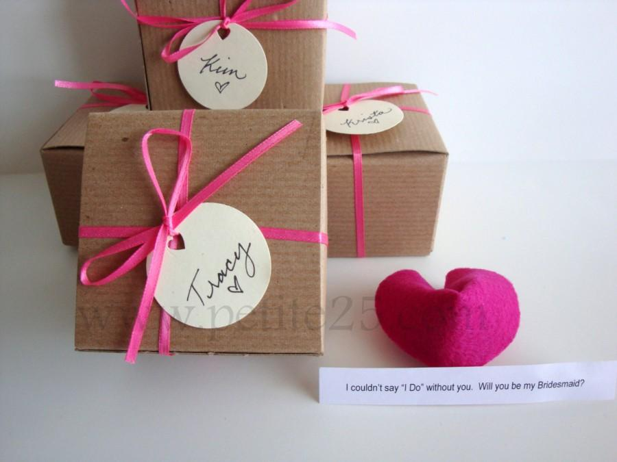 Свадьба - Bridesmaid Invitation: Set of SEVEN (7) felt Fortune cookie, wedding favor, place card, secret message, Will you be my bridesmaid