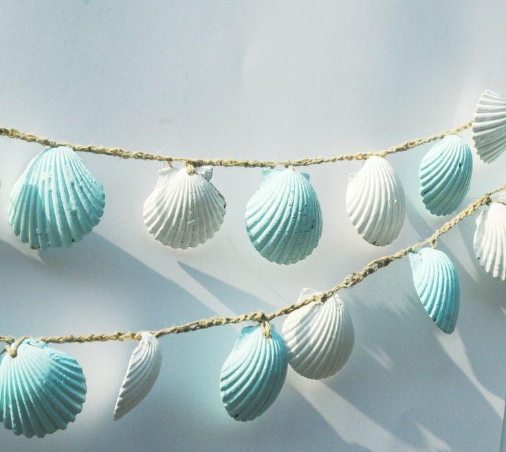 beach themed decor seashell garland lt blue seashell bunting beach wedding isle runner seashell decorations beach party decor luau - Beach Theme Decor