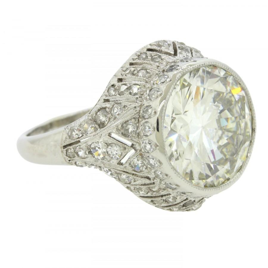 Mariage - GORGEOUS Antique Art Deco Platinum 4.68ct G VS2 Round Diamond Engagement Ring MSRP 178210