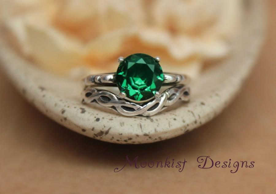 Mariage - Emerald Green Spinel Filigree Ring Set with Fitted Celtic Band in Sterling Silver - May Birthstone, Promise Ring, Diamond Alternative