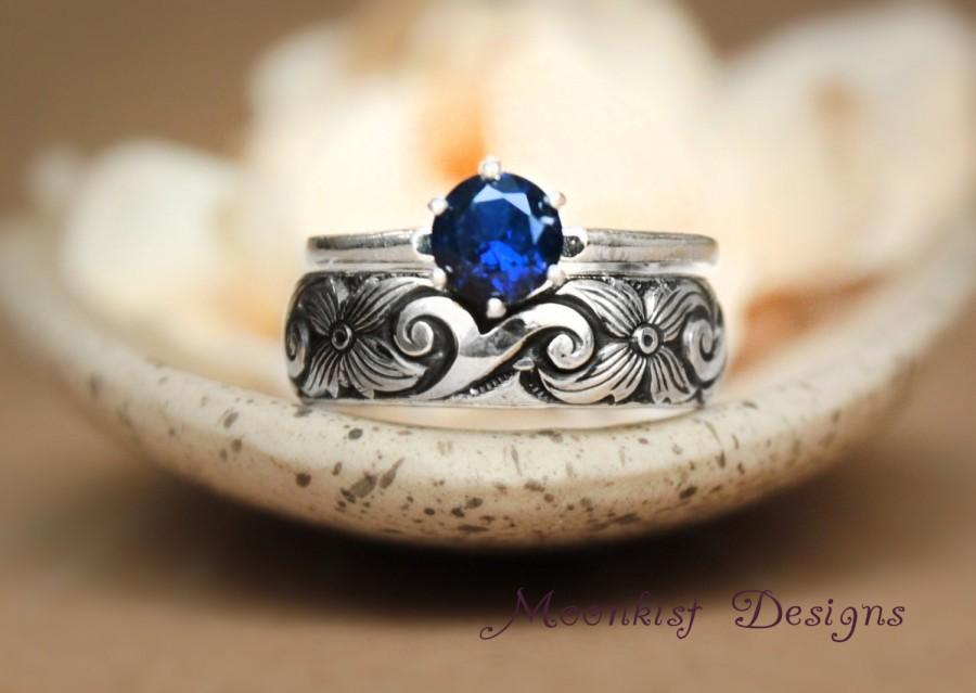 Sapphire ClassicStyle Solitaire Scroll Wedding Band Set In Sterling