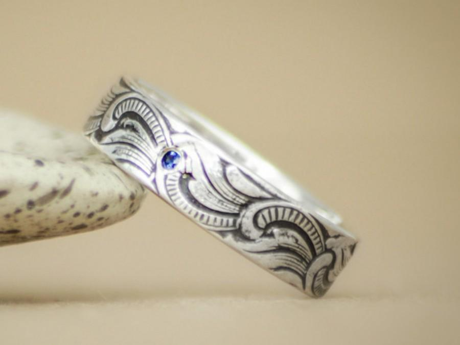 Art Nouveau Mens Engagement Ring In Sterling Silver Unisex