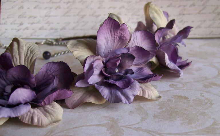 Mariage - Woodland Wedding Flower Headband - Purple - Amethyst Beads - Fairy Crown - Grapevine -Made to Order