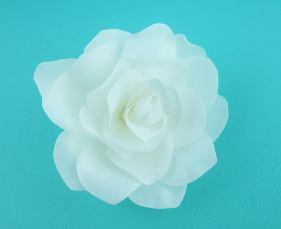 زفاف - Ivory Hair Flower, Gardenia Hair Flower, wedding hair accessories, wedding flower clip, hair flower clip, ivory hair flower