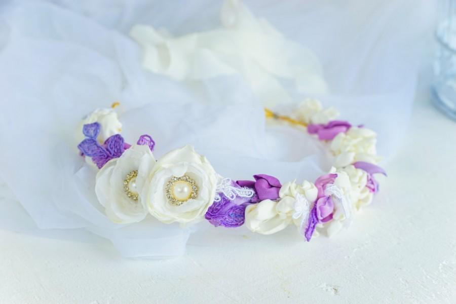 Mariage - Floral crown, Bridal crown, bridal flower crown, hair wreath, lilac flower crown, purple wedding, floral boho wreath, boho head piece