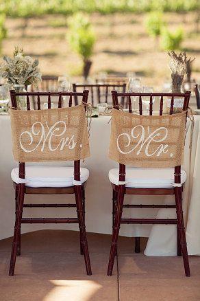 Hochzeit - Burlap Wedding Chair Signs - Mr And Mrs Chair Signs -Wedding Decorations
