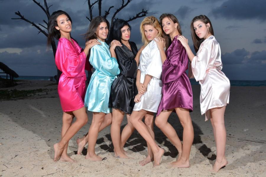 Bridesmaid Robes, Monogram Satin Robe, Bridal Party Robes, Satin ...