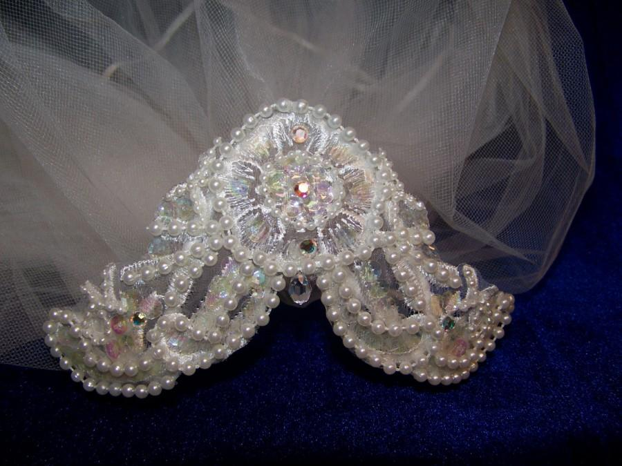 Свадьба - Wedding, bridal, communion custom designed headpiece. Lace with pearls, crystals, sequins with aurora crystal drop. Veil not included.