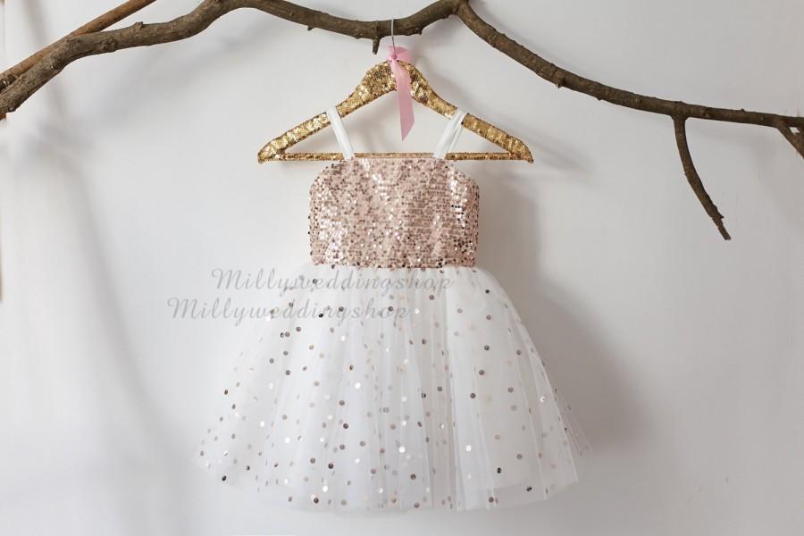 Wedding - Thin Straps Rose Gold Sequin Tulle Flower Girl Dress Wedding Junior Bridesmaid Dress M0018