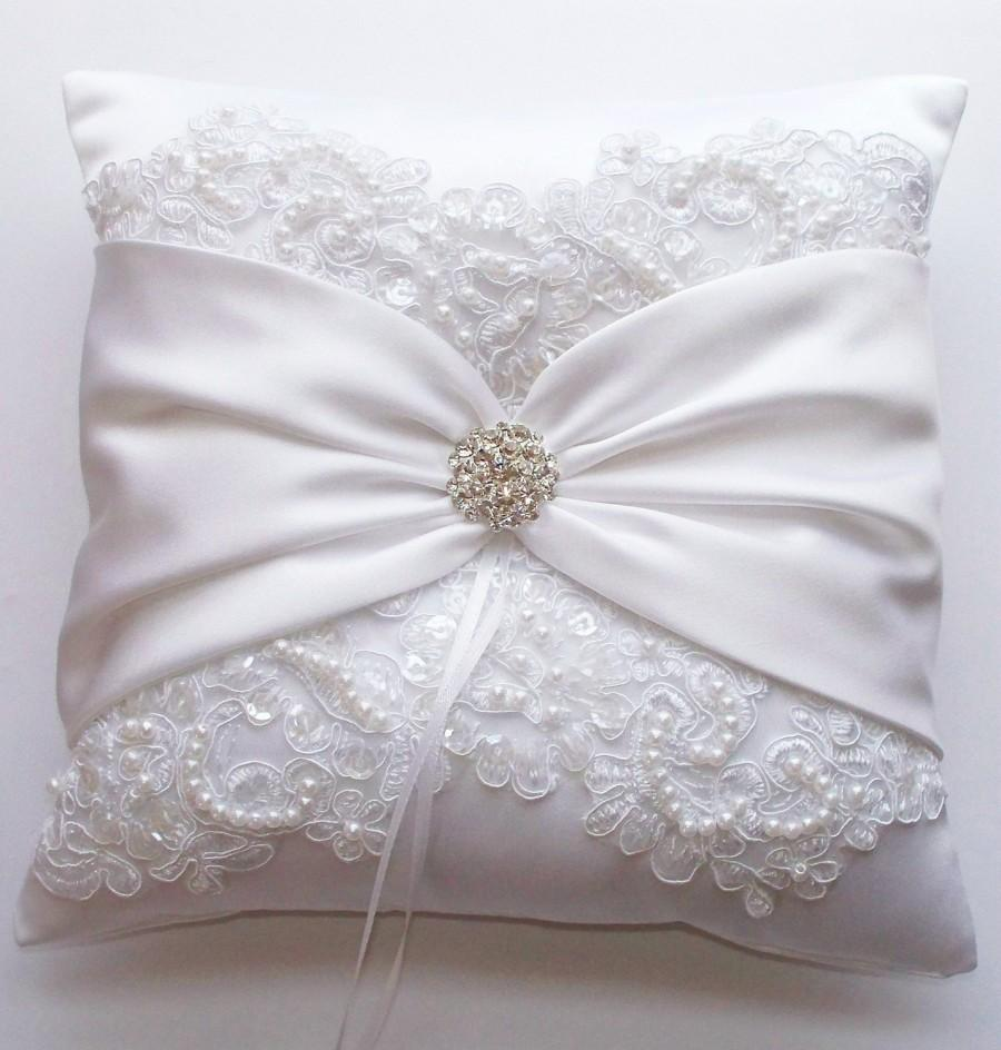 Wedding - Wedding Ring Pillow with Beaded Alencon Lace, White Satin Sash Cinched by Crystals Plus Coordinating Basket - The MIRANDA LYNN Set