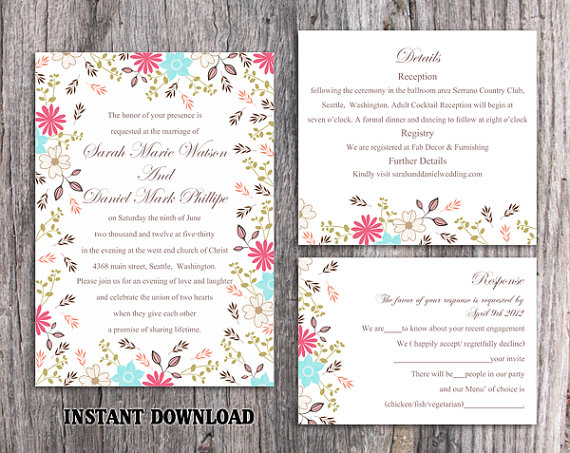 Mariage - DIY Wedding Invitation Template Set Editable Word File Instant Download Printable Colorful Invitation Elegant Flower Wedding Invitation