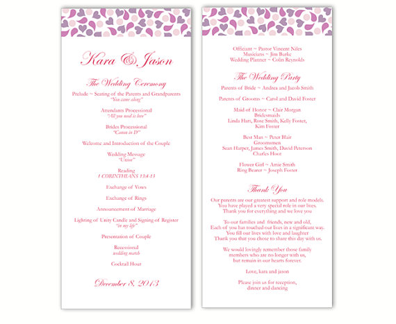 Mariage - Wedding Program Template DIY Editable Word File Instant Download Program Lavender Wedding Program Purple Heart Program Printable Program