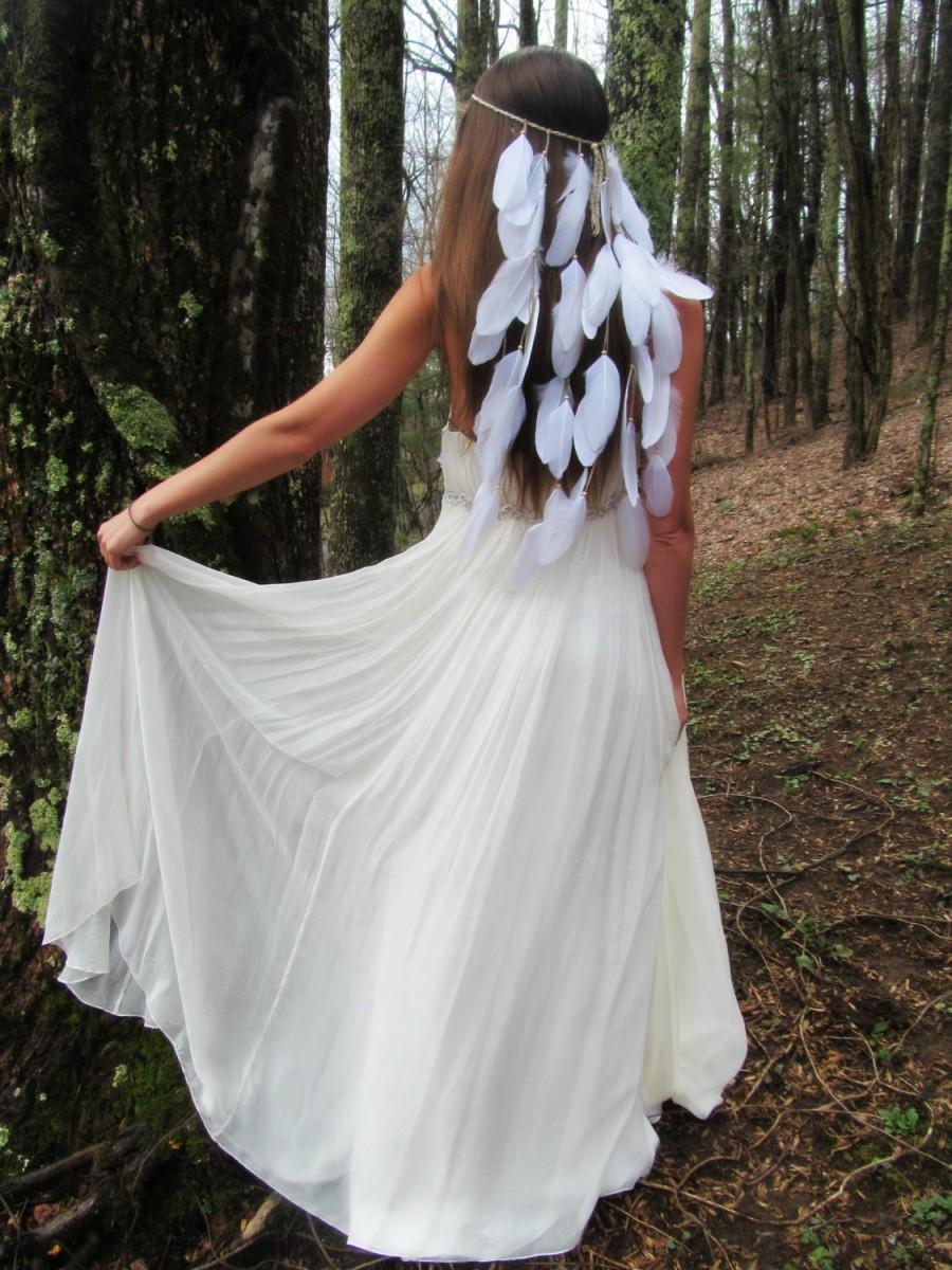 White Feather Headband Bridal Boho Bride Wedding Accessories Headpiece