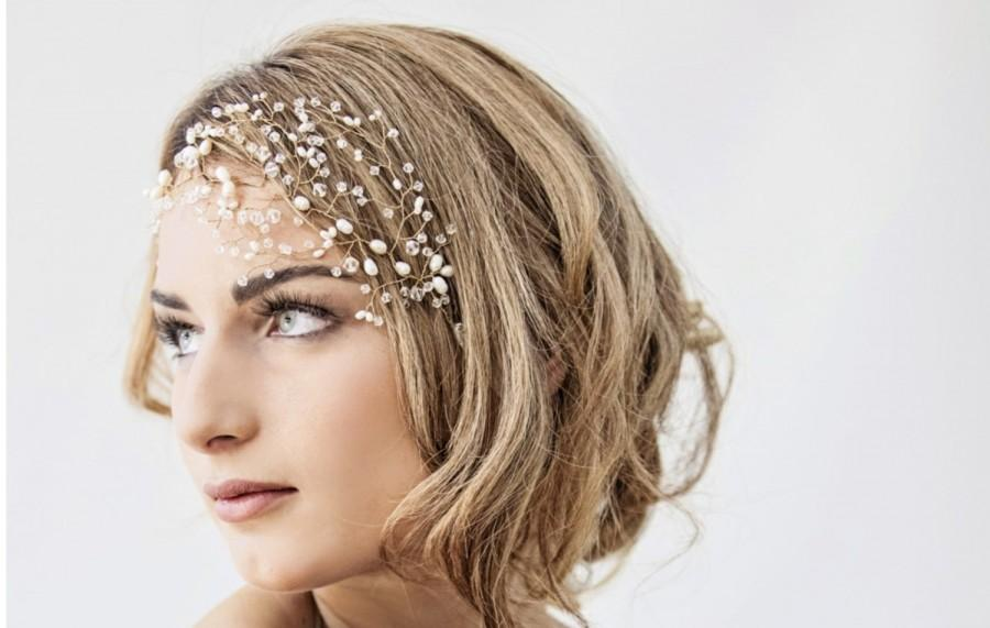 Nozze - Wedding headpiece, Bridal hair vine, crystal bridal headpiece, pearl bridal hair accessory, crystal net - Ready to ship