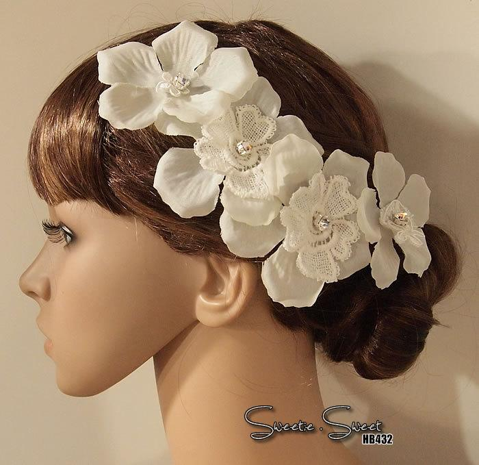زفاف - Bridal Head piece, Bridal Hair Comb, Wedding Hair Comb, bridal Fascinator, Bridal Hair Clip, Wedding Fascinator, Ivory lace flo