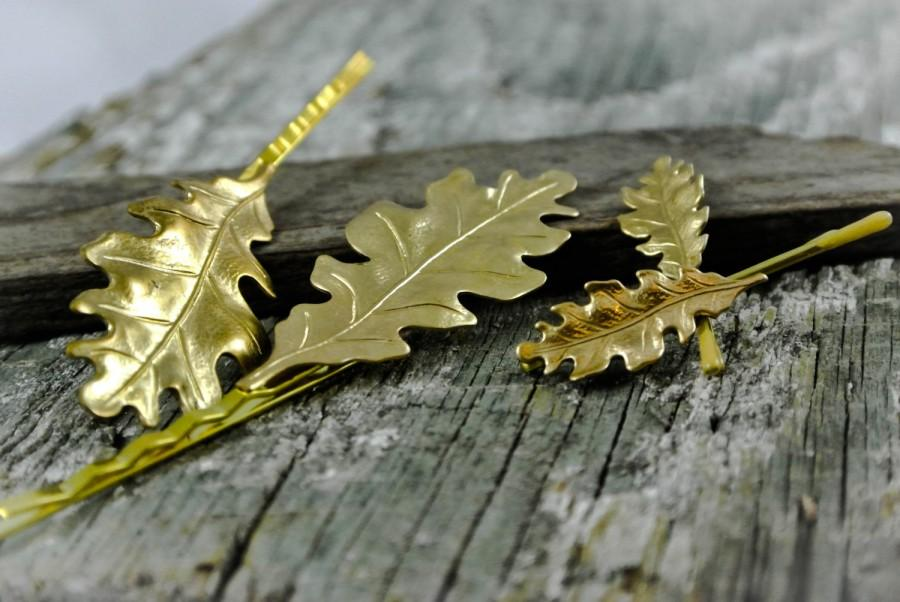 زفاف - Gold Oak Leaf Bobby Pins Set of 4 Leaves Hair Pins Regular and Mini Pins Woodland Bride Hair Accessories Bridal Hair Clips Prom