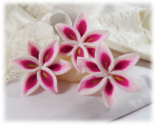 Pink Lily Hair Pins Stargazer Flowers Clips Wedding Small Lilies For