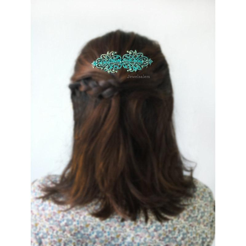 Mariage - Blue Wedding Comb Romantic Bridal Hair Comb Turquoise Hair Slide Vintage Style Headpiece for Bride Elegant Bridesmaid Comb Gift