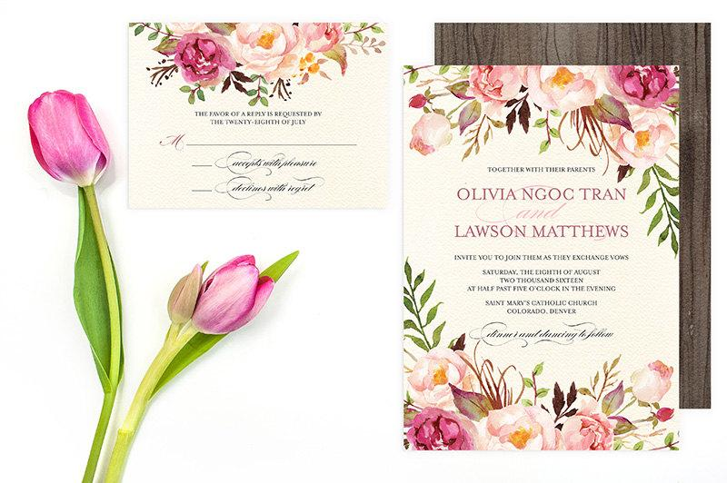 Floral Wedding Invitation Set DoItYourself Printable Pink – Floral Wedding Invitations
